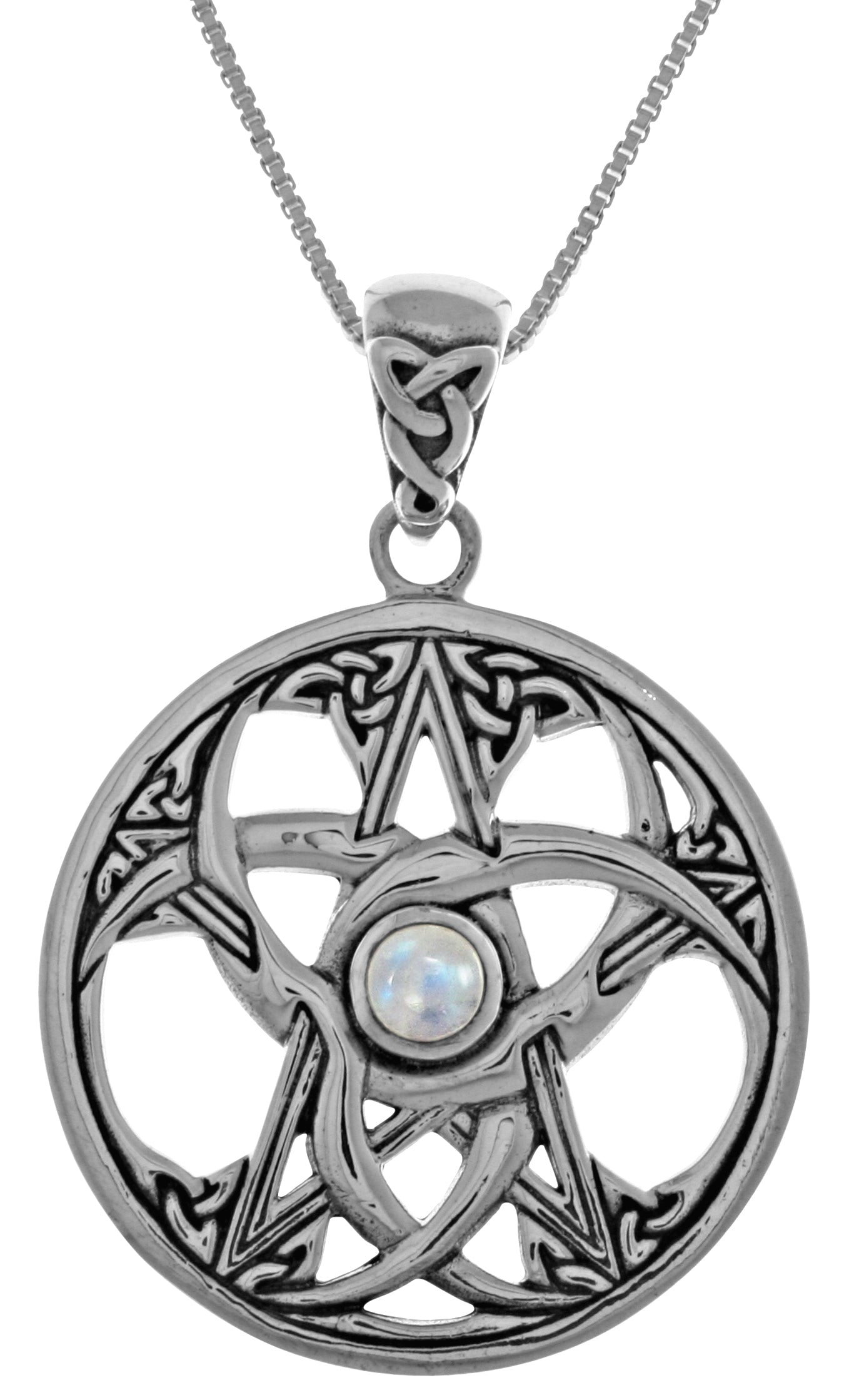 Jewelry Trends Sterling Silver Celtic Triple Crescent Moon and Star Pendant with Moonstone on 18 Inch Chain Necklace