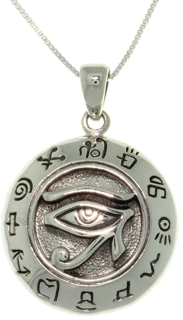 "Jewelry Trends Sterling Silver Eye of Horus Egyptian Sun God Symbol Pendant on 18"" Silver Necklace"