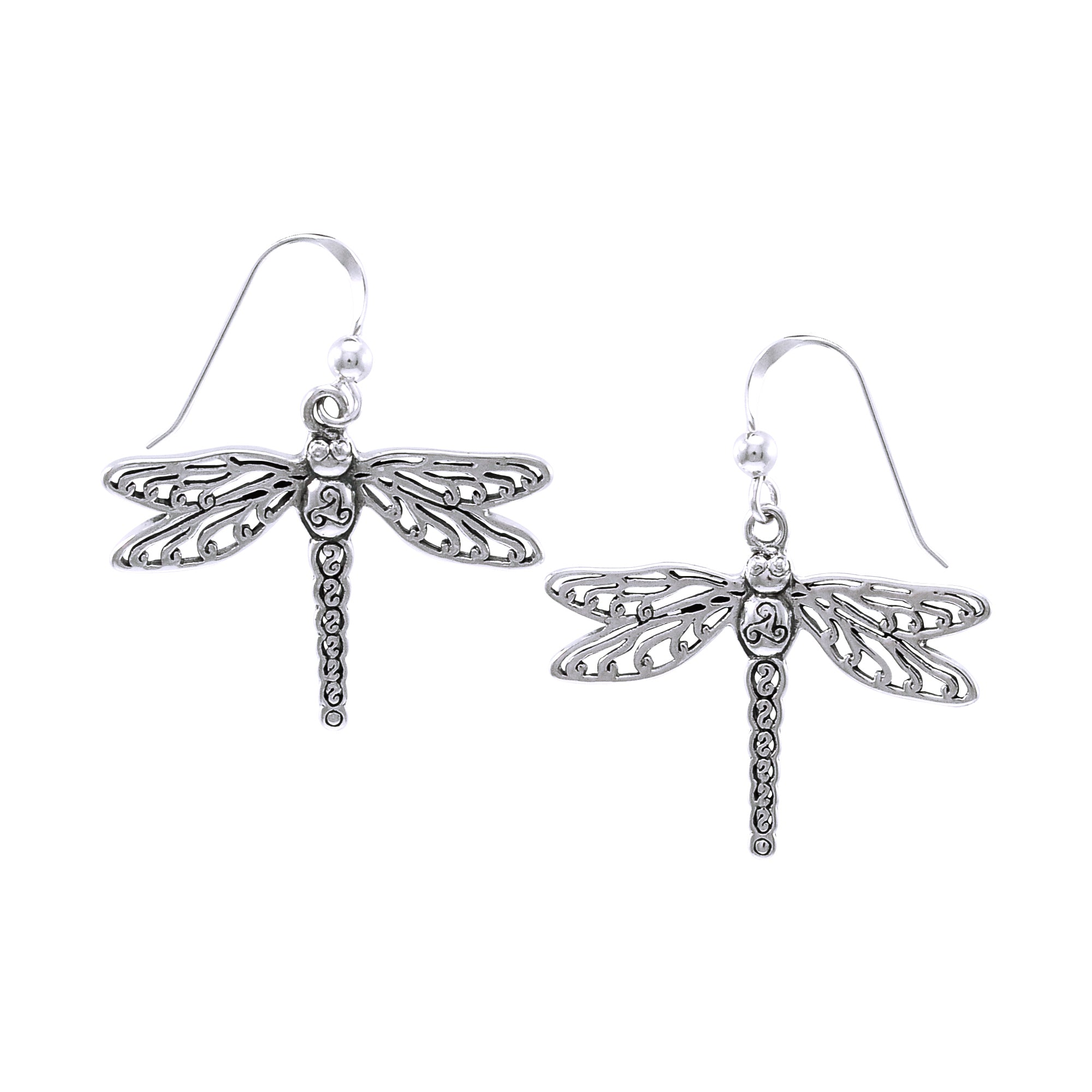 Jewelry Trends Sterling Silver Celtic Triskele Dragonfly Dangle Earrings