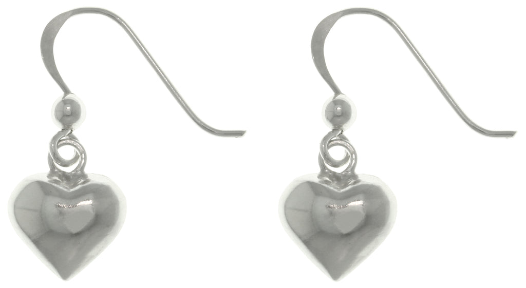 Jewelry Trends Sterling Silver Petite Puff Heart Dangle Earrings