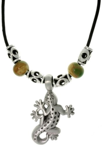 Jewelry Trends Pewter Unisex Gecko and Glazed Porcelain Bead Necklace