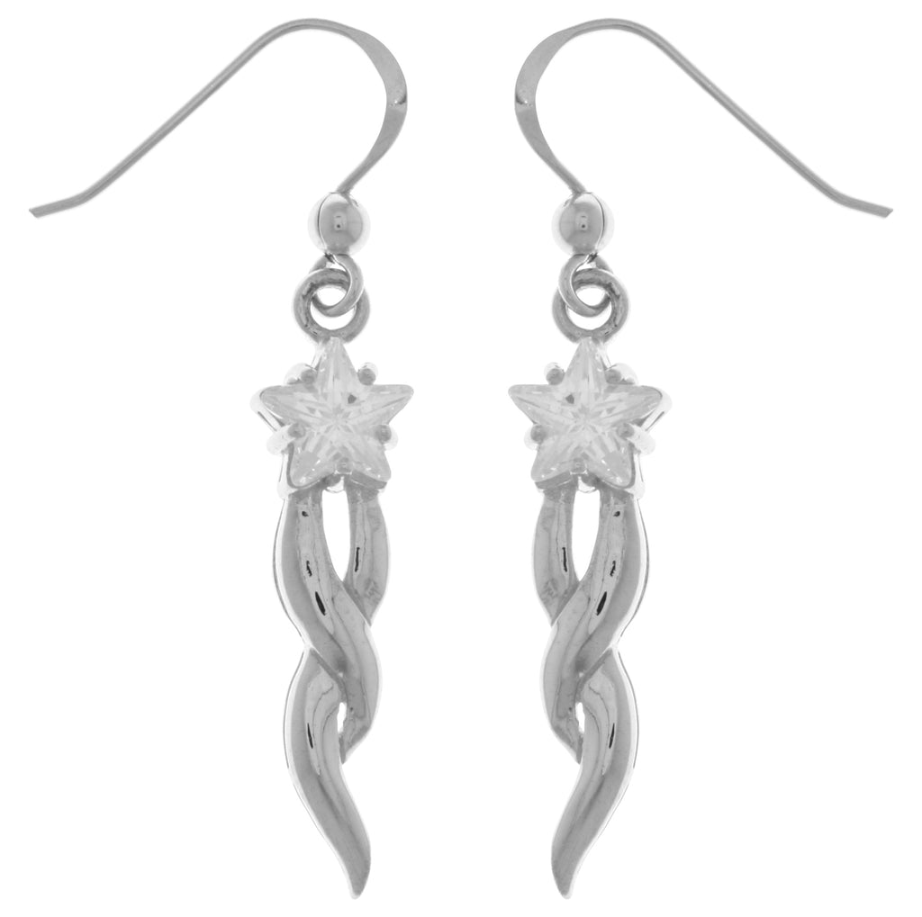 Jewelry Trends Sterling Silver Shooting Star Dangle Earrings with Clear CZ