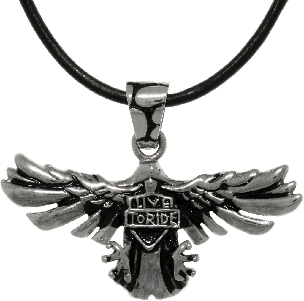 Jewelry Trends Stainless Steel Eagle Pendant with Live To Ride Shield on 18 Inch Black Leather Necklace