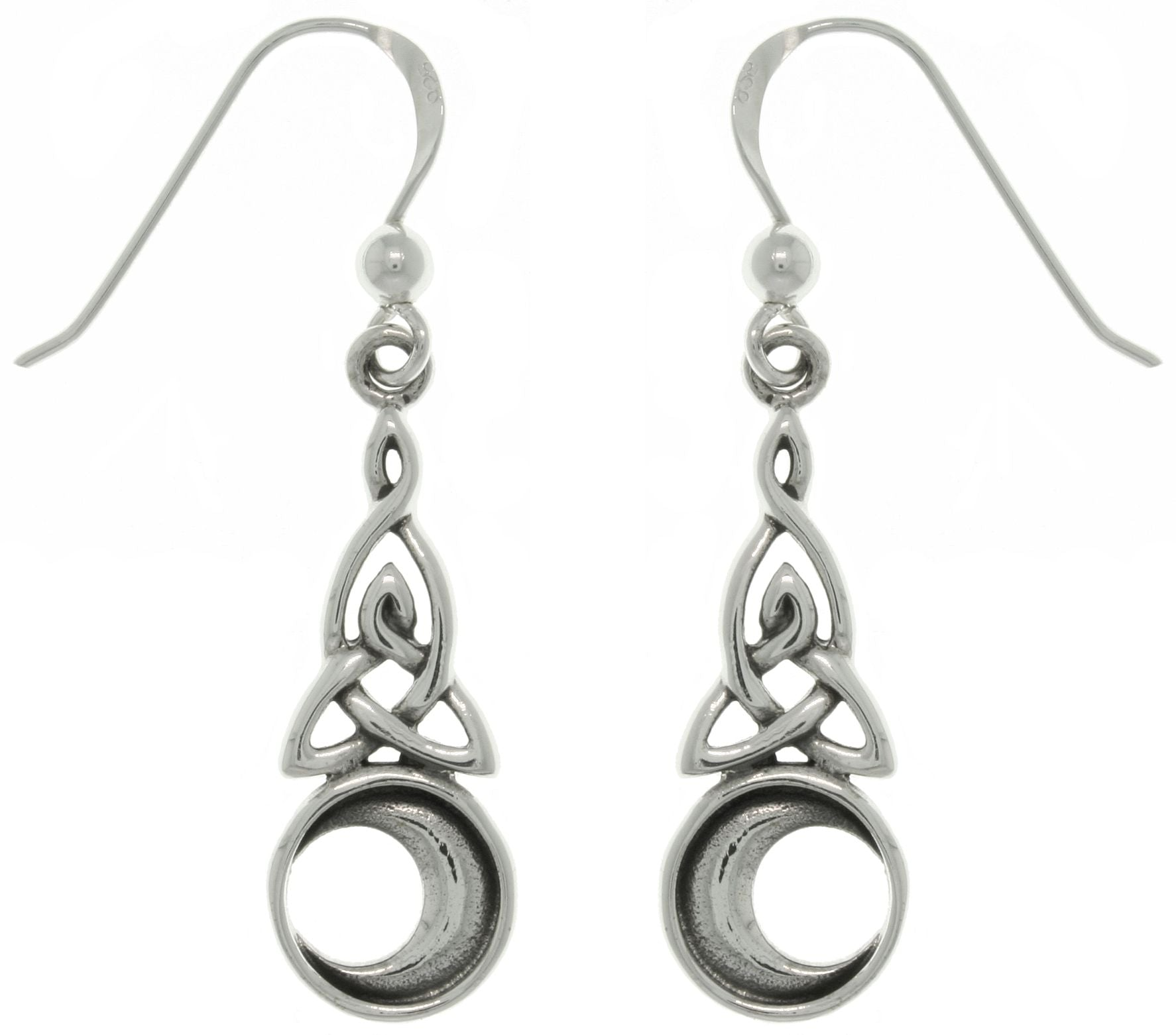 Jewelry Trends Sterling Silver Celtic Triquetra Trinity Moon Dangle Earrings