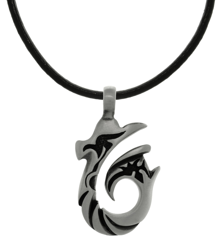 Jewelry Trends Pewter Tribal Wave Hook Pendant on Black Leather Necklace