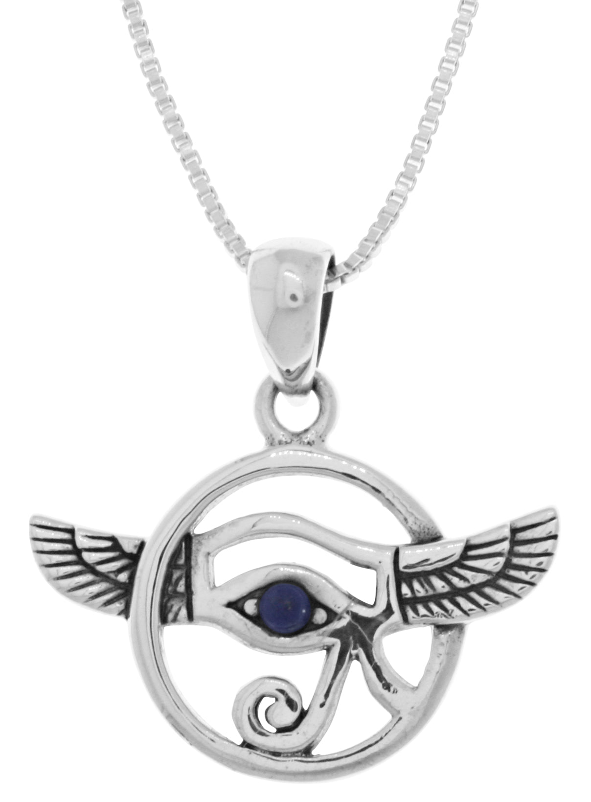 Jewelry Trends Sterling Silver Winged Eye Of Horus Pendant with Synthetic Blue Lapis on 18 Inch Box Chain Necklace