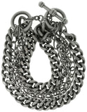Jewelry Trends Silver Plated Brass Six Chain Toggle Bracelet