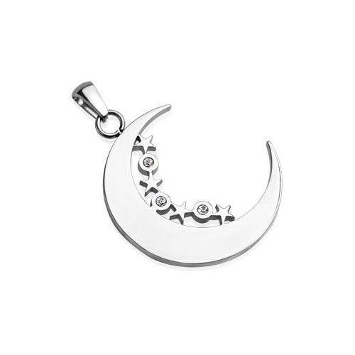 Jewelry Trends Stainless Steel Crescent Moon and Stars Pendant with CZ Stones on Black Leather Necklace