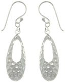 Jewelry Trends Sterling Silver Hammered Teardrop Dangle Earrings