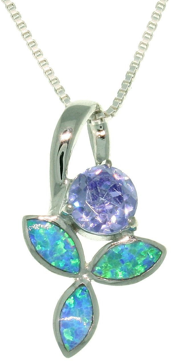 Jewelry Trends Sterling Silver Created Blue Opal and Purple CZ Iris Flower Pendant with 18 Inch Box Chain Necklace