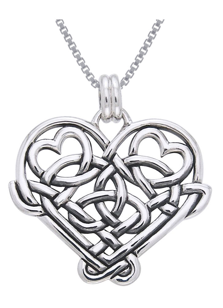 Jewelry Trends Sterling Silver Celtic Knot Eternal Love Heart Pendant on Box Chain Necklace Gift