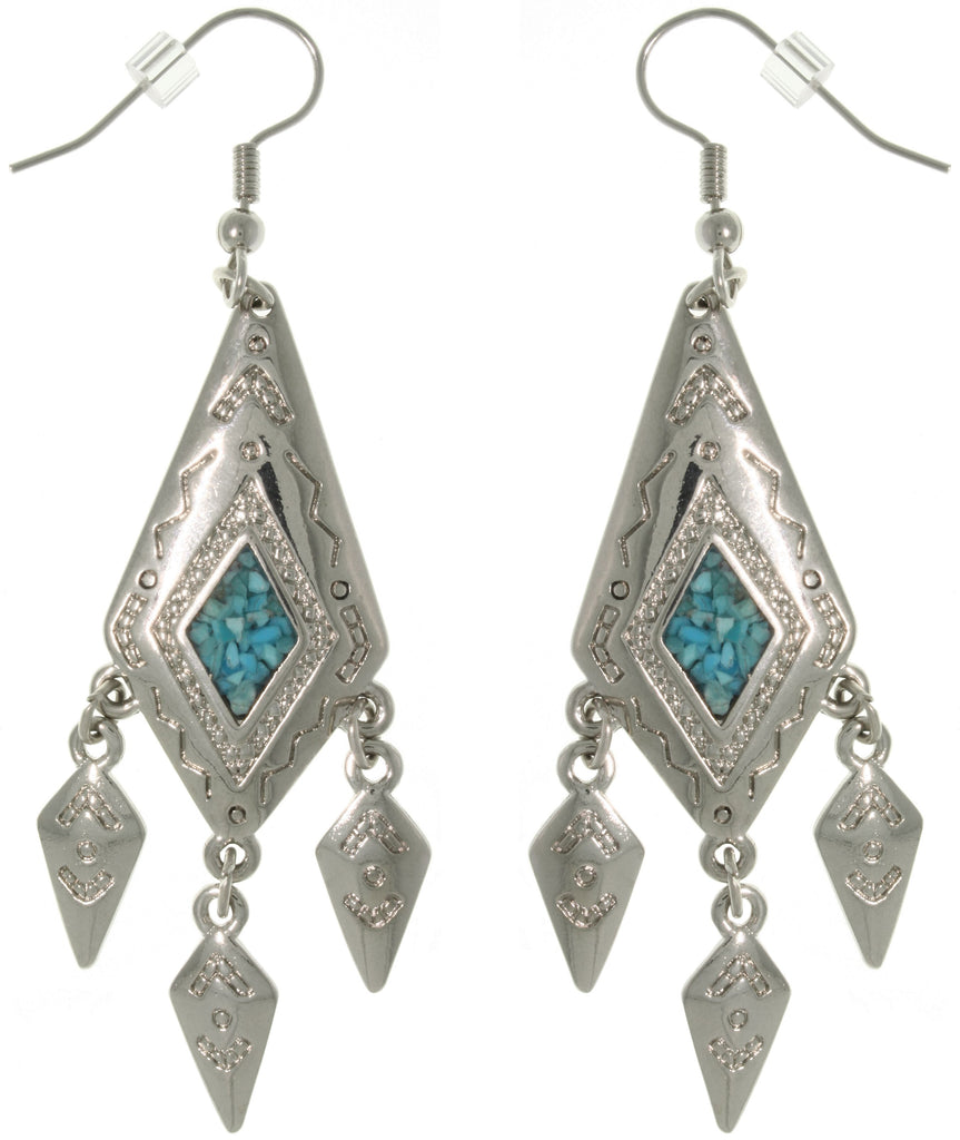 Jewelry Trends Pewter Created Turquoise Diamond-shaped Dangle Earrings