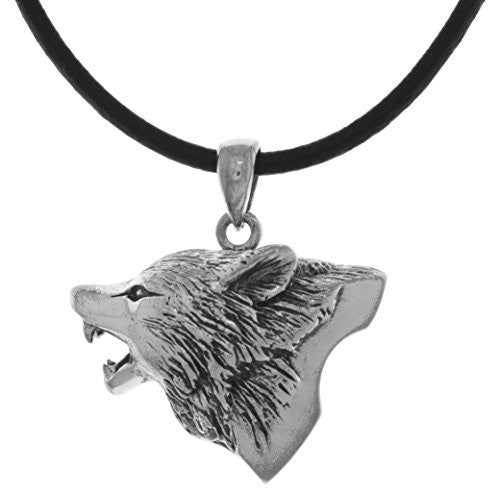 Jewelry Trends Silver Plated Bronze Howling Wolf Head Pendant on Black Leather Necklace