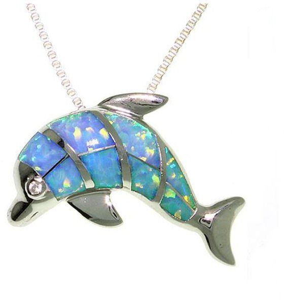 Jewelry Trends Sterling Silver Created Blue Opal Dolphin Pendant on 18 Inch Box Chain Necklace
