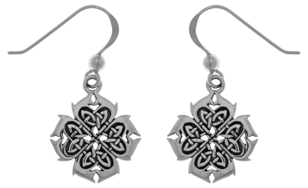 Jewelry Trends Sterling Silver Celtic Knotwork Cross of Inspiration Dangle Earrings