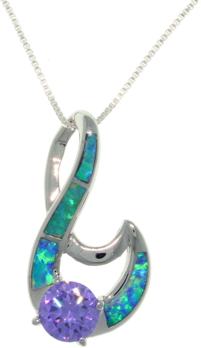 Jewelry Trends Sterling Silver Created Opal and Amethyst Purple CZ Fancy Swirl Pendant on 18 Inch Box Chain Necklace
