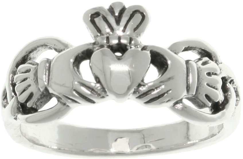 Jewelry Trends Sterling Silver Celtic Claddagh Ring with Heart and Crown Whole Sizes 5 - 10 - 5