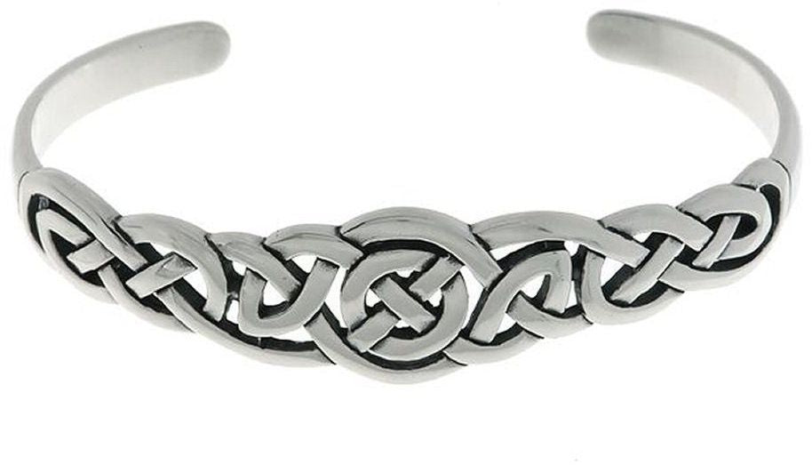 Jewelry Trends Sterling Silver Celtic Round Knot Bangle Bracelet
