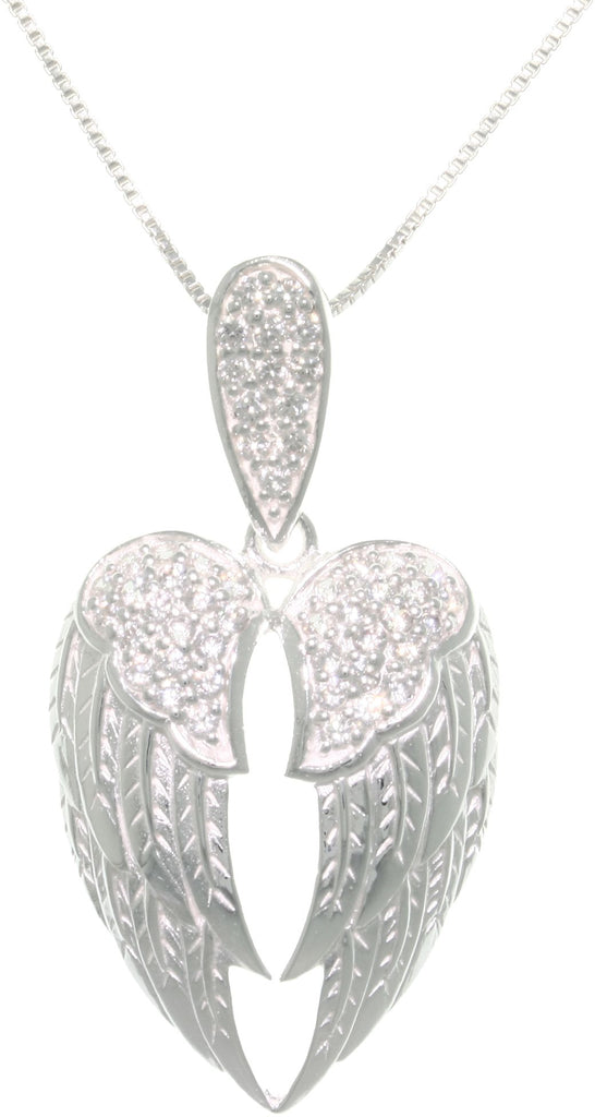 Jewelry Trends Sterling Silver Pave Cubic Zirconia Angel Wings Pendant Necklace