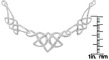 Jewelry Trends Silver Plated Bronze Triple Linked Celtic Knot Pendant on Link Chain Necklace