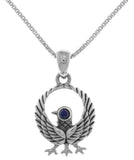 Jewelry Trends Sterling Silver Kumano Crow Pendant with Synthetic Lapis on 18 Inch Box Chain Necklace