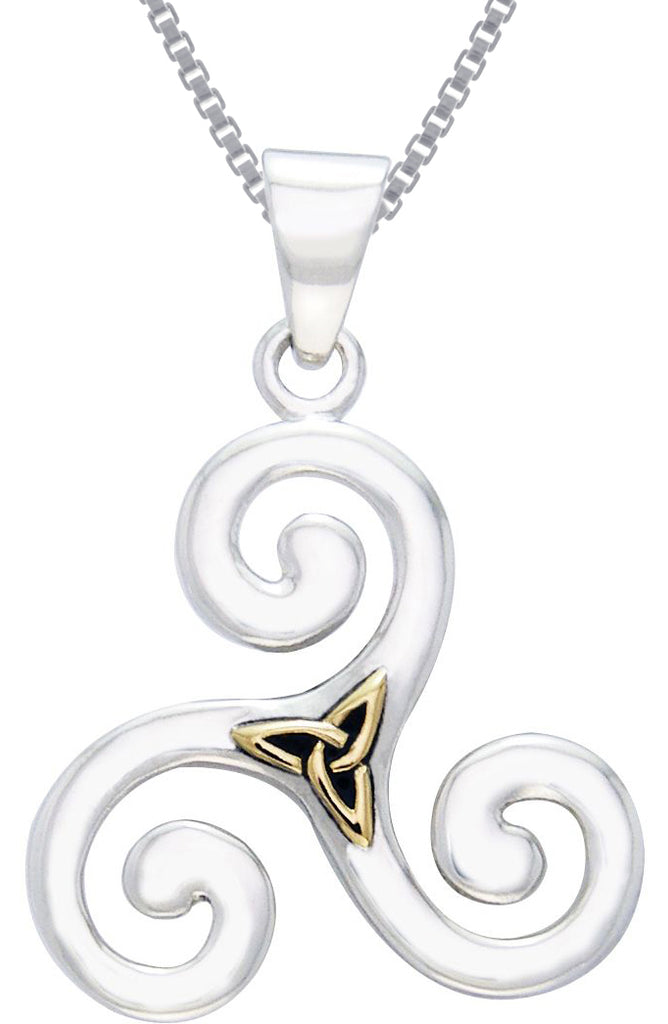 Jewelry Trends Sterling Silver and Gold-Plated Celtic Triskele Trinity Knot Pendant on 18 Inch Box Chain Necklace