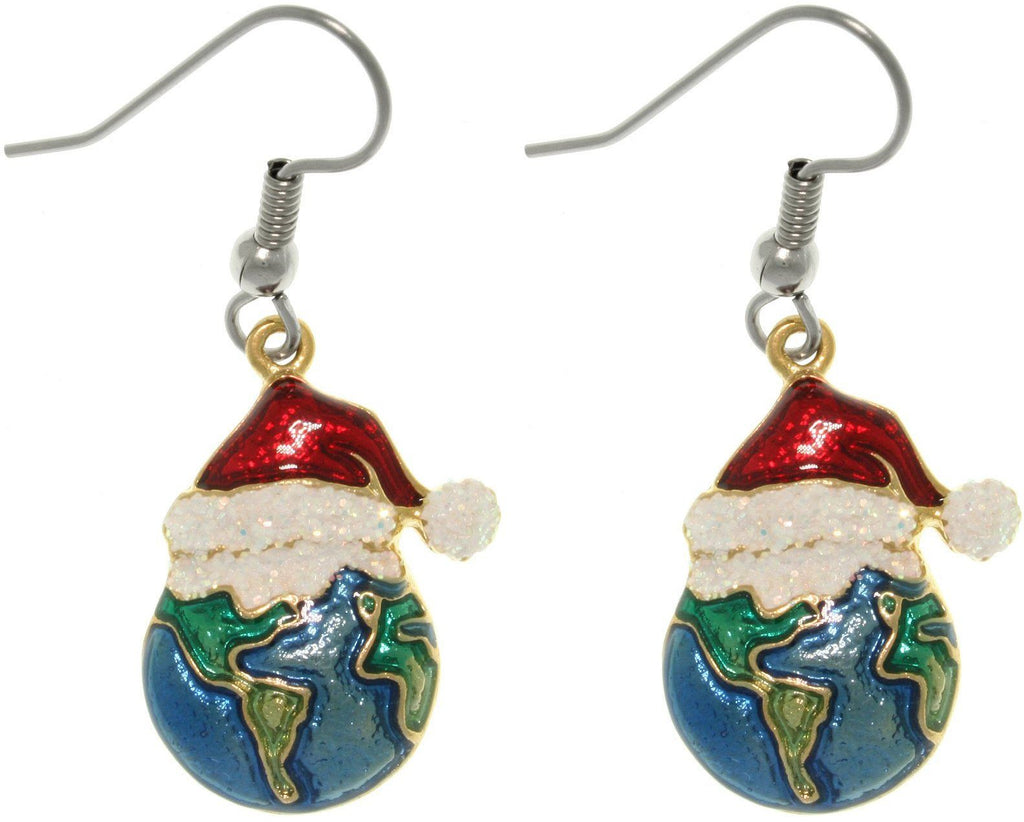 Jewelry Trends Pewter Holiday Joy to the Earth Christmas Earrings with Santa Hats