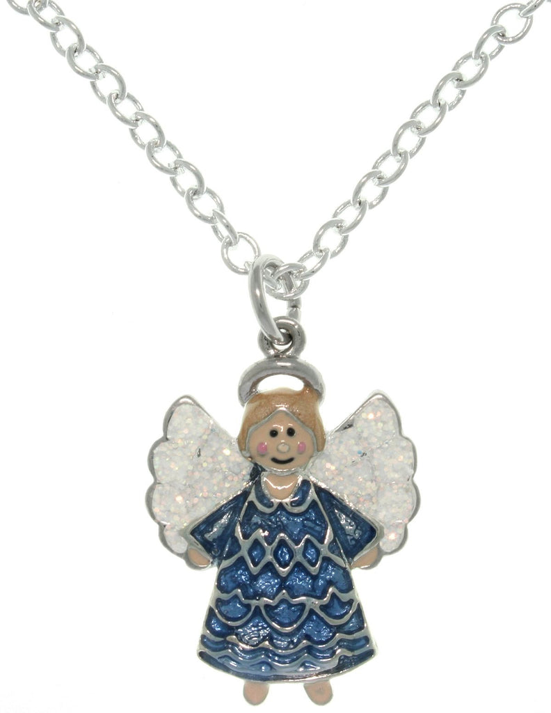 Jewelry Trends Pewter Enamel Joyful Angel Charm with 18 Inch Chain Necklace