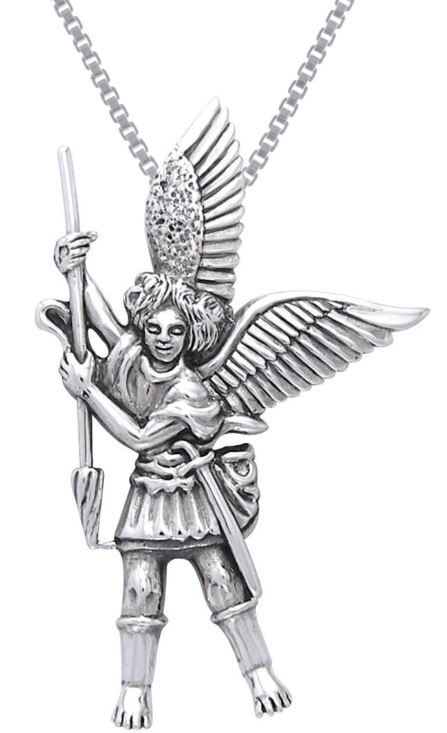 Jewelry Trends Sterling Silver Michael the Archangel Angel Pendant on 18 Inch Box Chain Necklace