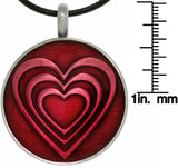 Jewelry Trends Pewter Glossy Red Epoxy Heart Pendant on 18 Inch Leather Necklace