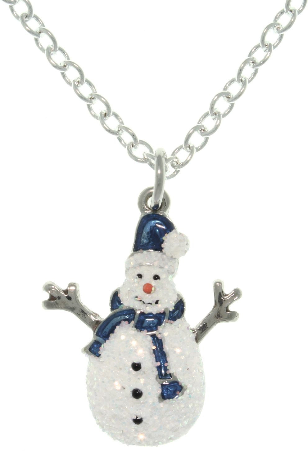 Jewelry Trends Pewter Enamel Holiday Glittered Snowman Charm with 18 Inch Chain Necklace Christmas Gift