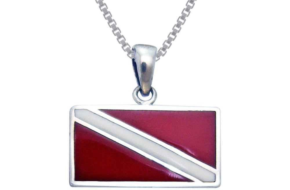 Jewelry Trends Sterling Silver Scuba Diver Down Flag Red Enameled Pendant on 18 Inch Box Chain Necklace