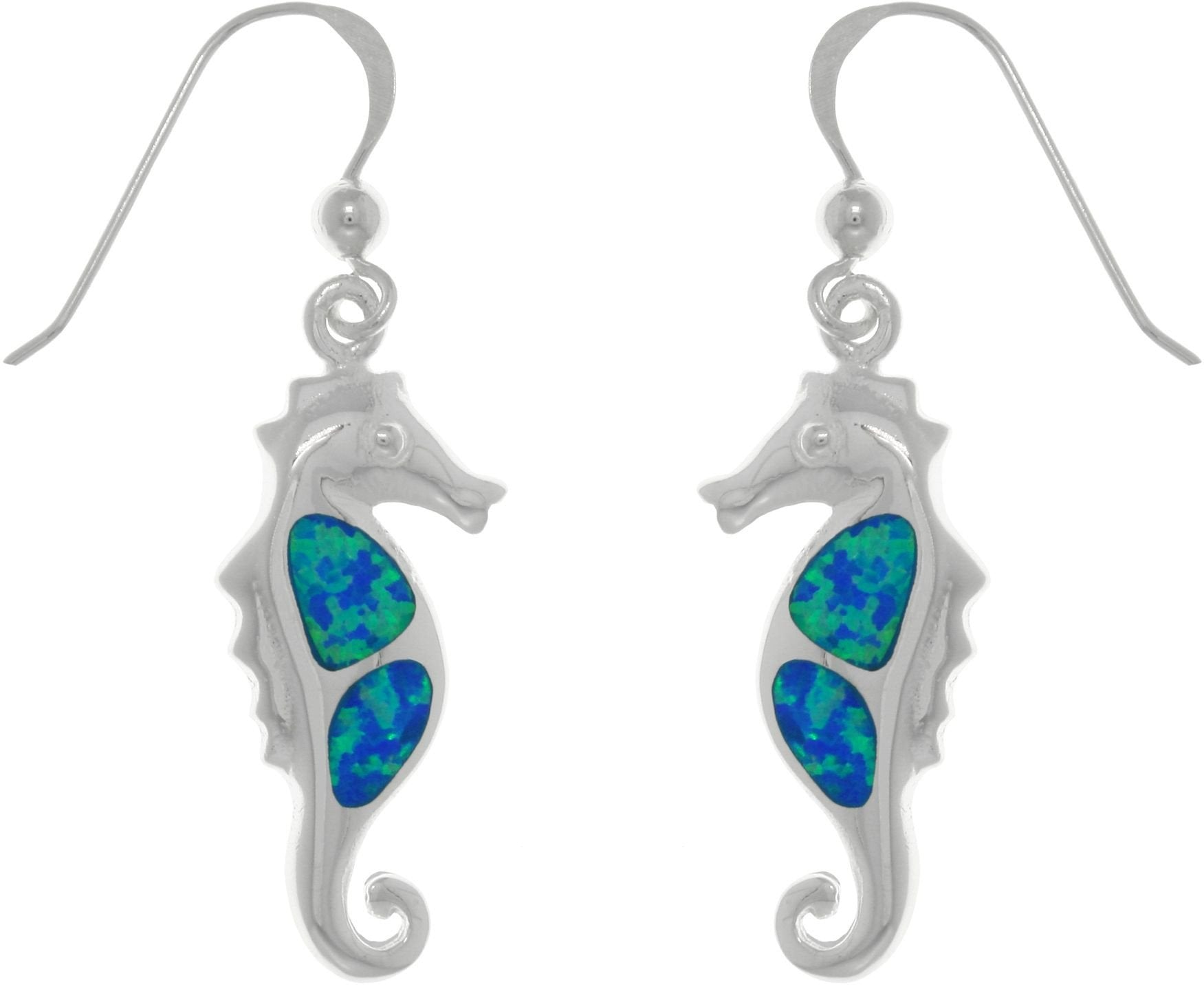Jewelry Trends Sterling Silver Created Blue Opal Seahorse Dangle Earrings