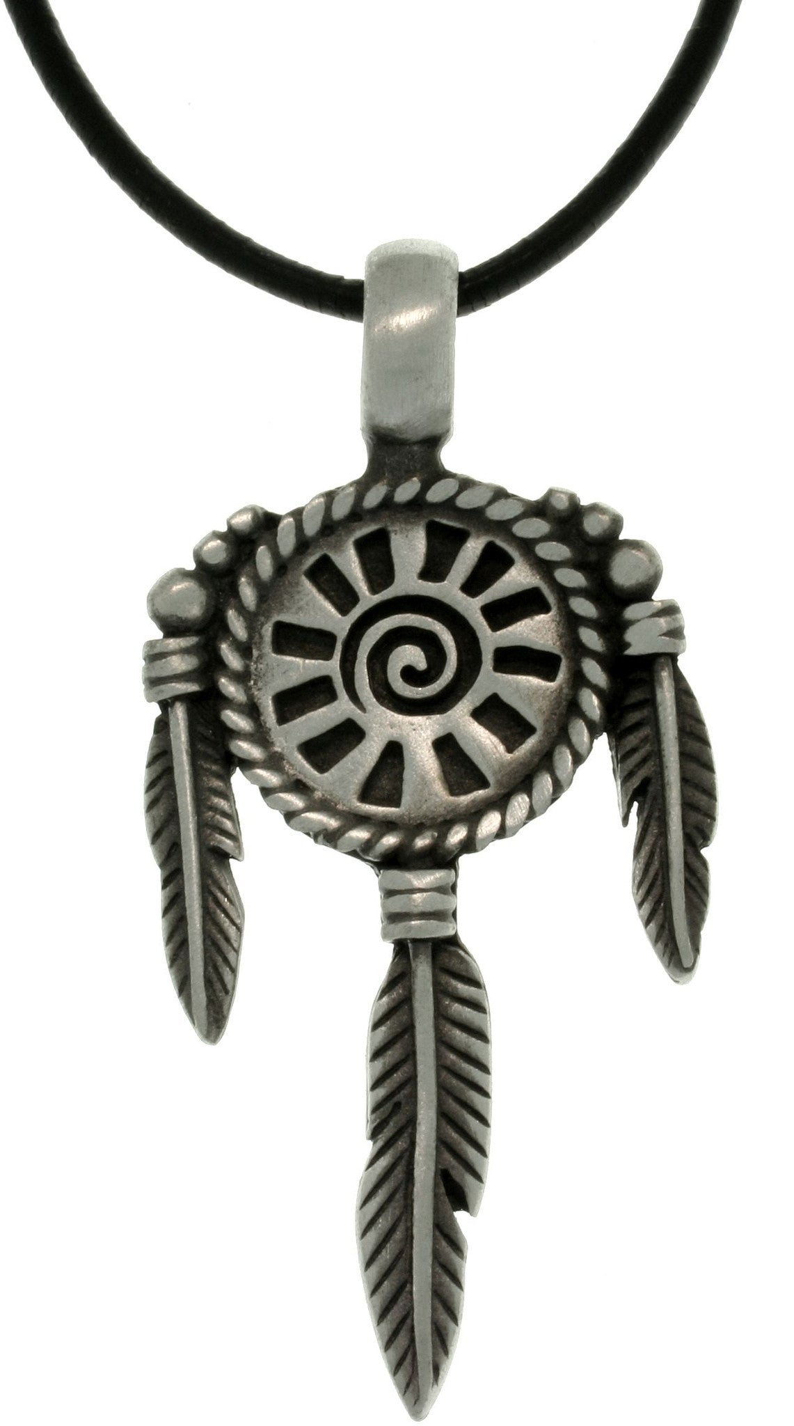 Jewelry Trends Pewter Sun Mandala South Western Unisex Pendant with 18 Inch Black Leather Cord Necklace