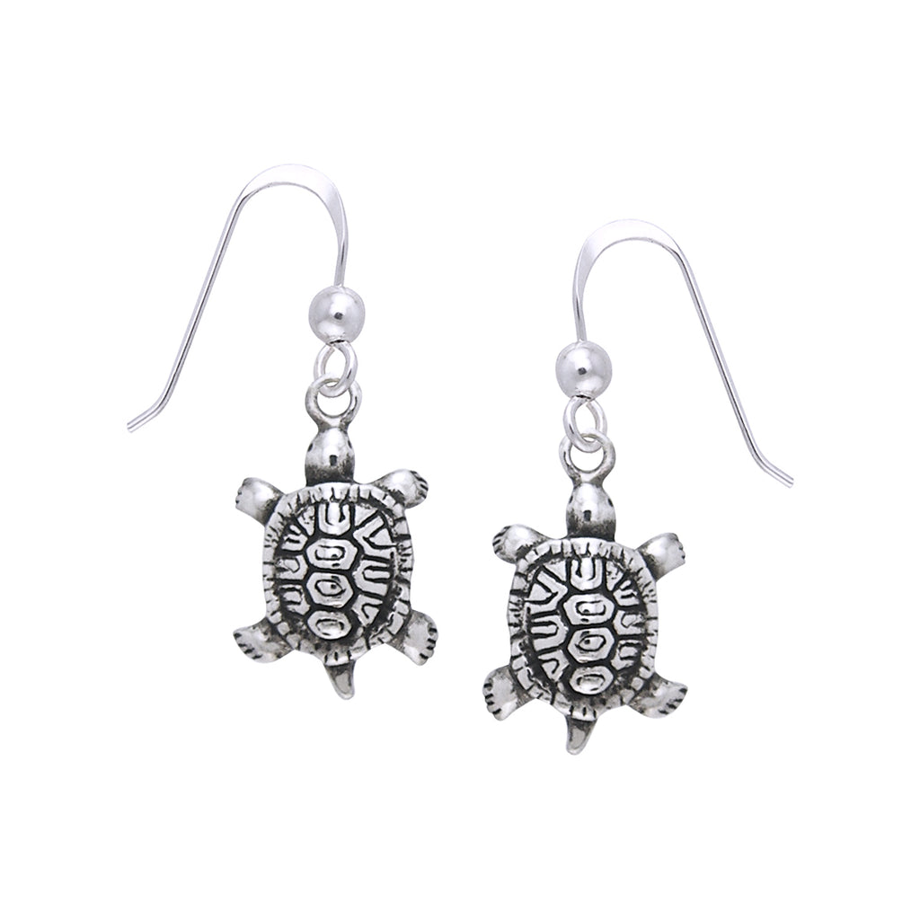 Jewelry Trends Sterling Silver Diamondback Turtle Dangle Earrings