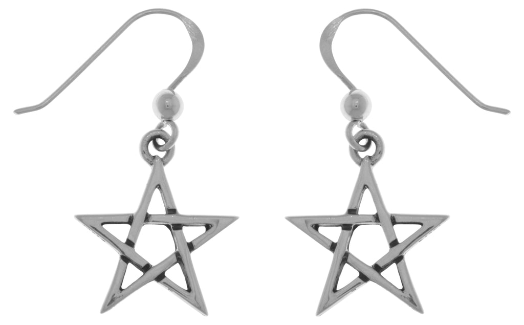 Jewelry Trends Sterling Silver Five Point Star Dangle Earrings