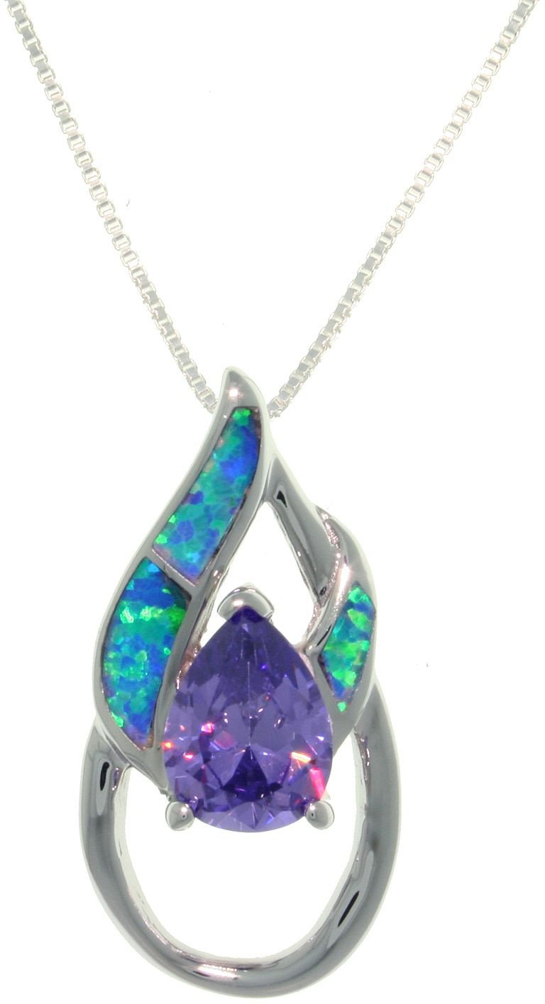 Jewelry Trends Sterling Silver Created Opal and Amethyst Purple CZ Double Pear Shaped Pendant on 18 Inch Chain Necklace