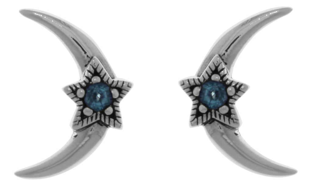 Jewelry Trends Sterling Silver Crescent Moon and Star Stud Post Earrings with Blue Topaz