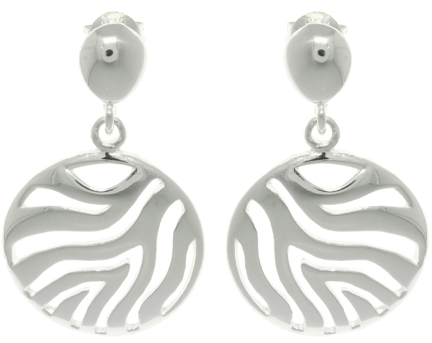 Jewelry Trends Sterling Silver Circle Cut Out Zebra Stripes Dangle Earrings