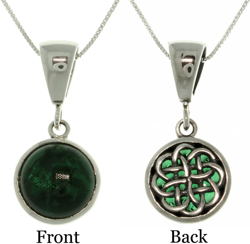 Jewelry Trends Sterling Silver Celtic Energy Knot Reversible Pendant with 18 Inch Box Chain Necklace