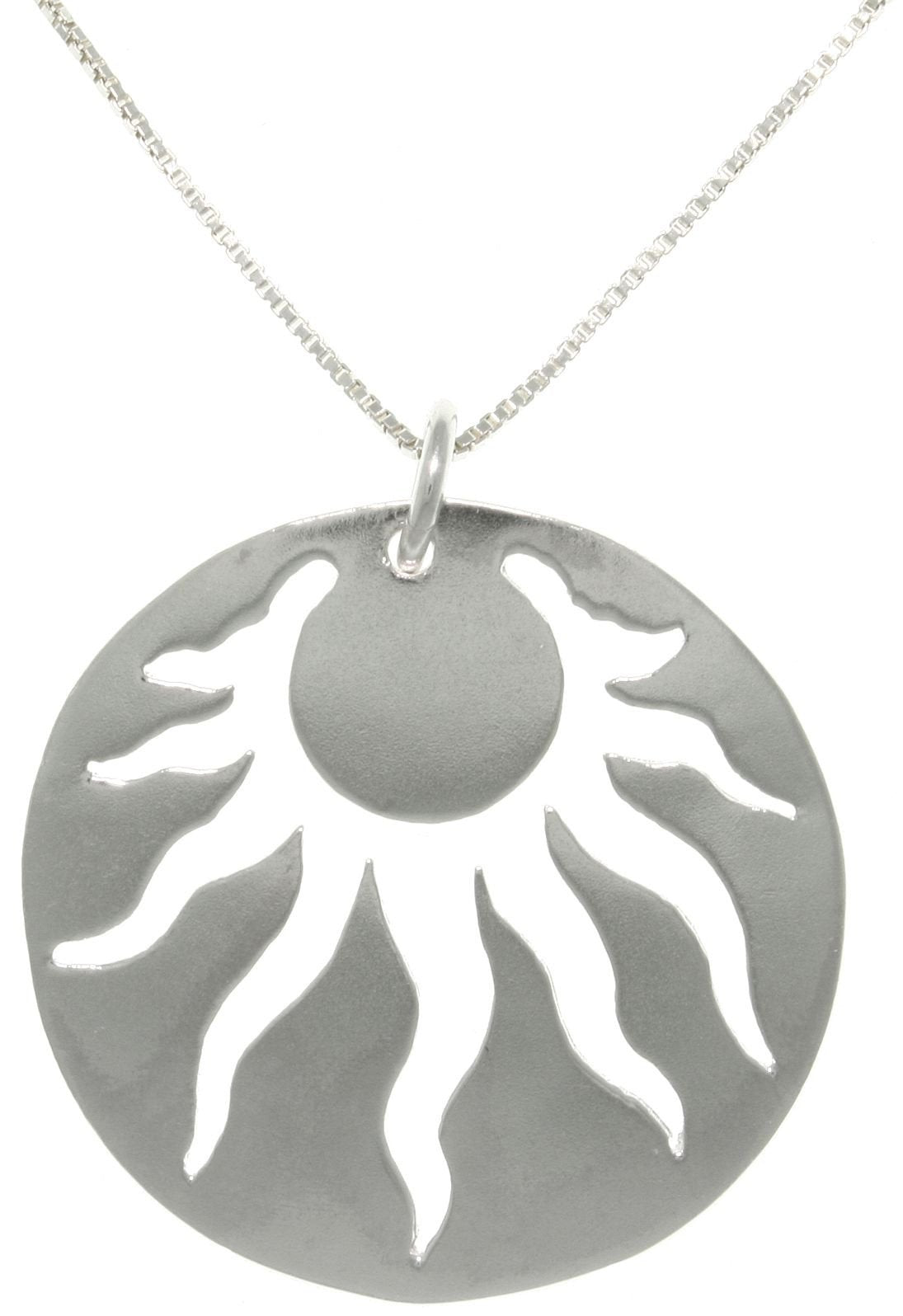 Jewelry Trends Sterling Silver Freeform Sun Pendant with 18 Inch Box Chain Necklace
