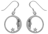 Jewelry Trends Silver Plated Bronze Crescent Moon and Star Dangle Earrings