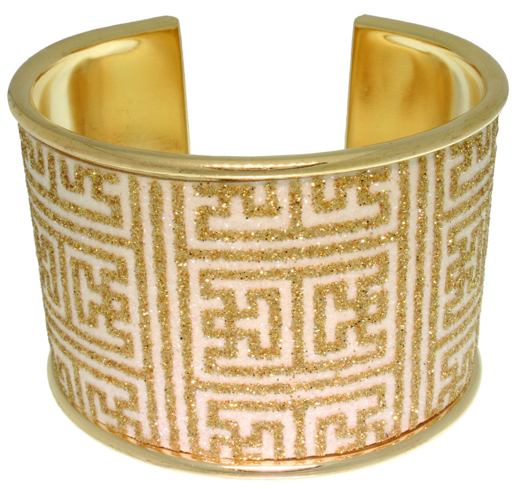 Jewelry Trends Goldtone Steel Sparkling Greek Key Design Square Cuff Bracelet