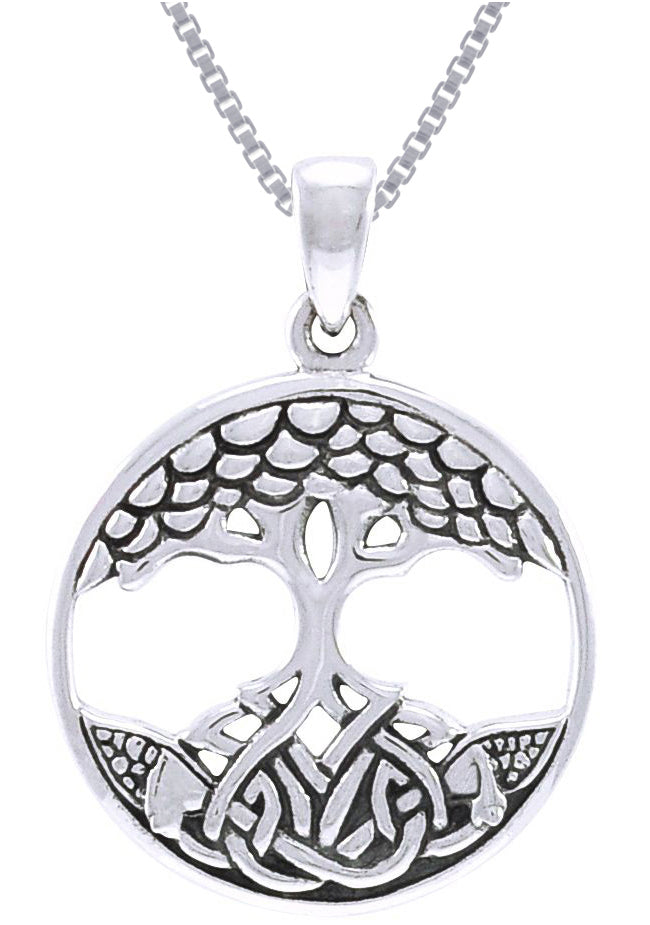 Jewelry Trends Sterling Silver Celtic Tree of Life Pendant on 18 Inch Box Chain Necklace