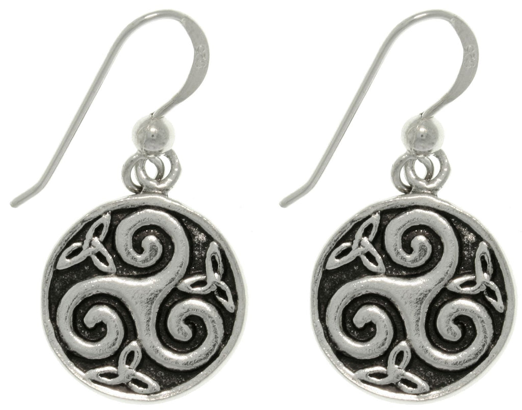 Jewelry Trends Sterling Silver Celtic Trinity Knot Spiral Round Dangle Earrings