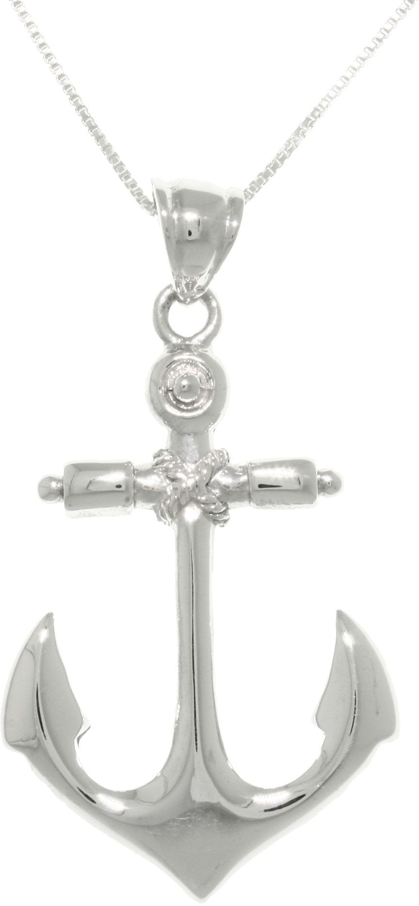 Jewelry Trends Sterling Silver Nautical Anchor Hope and Protection Pendant on Box Chain Necklace