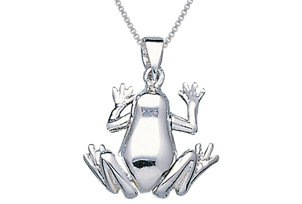 Jewelry Trends Sterling Silver Frog Pendant on 18 Inch Box Chain Necklace