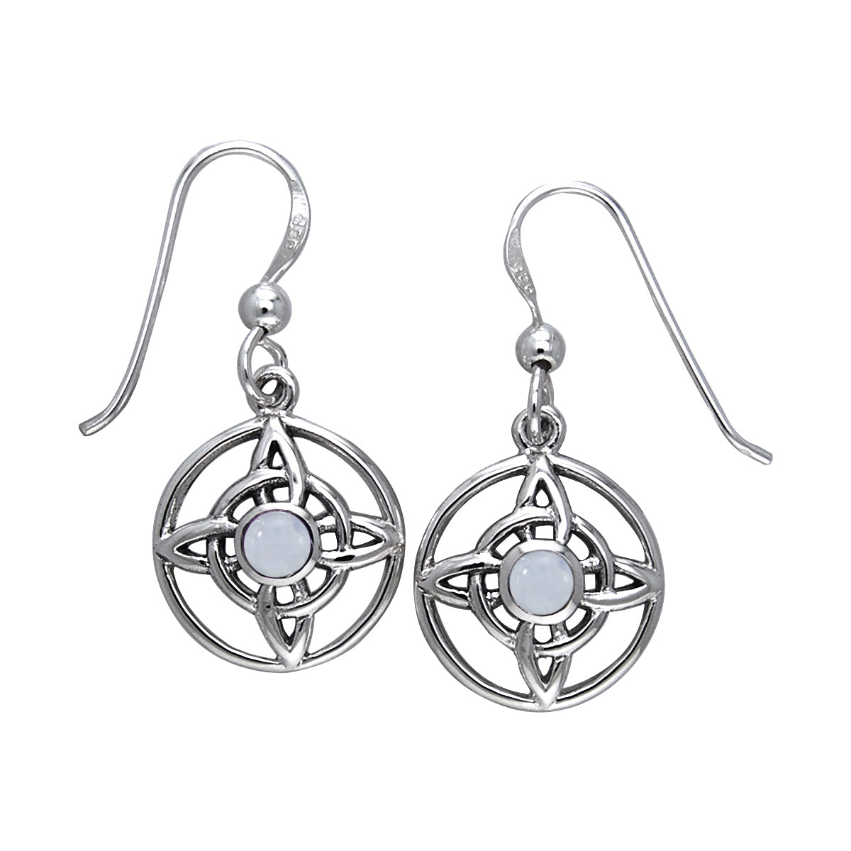 Jewelry Trends Sterling Silver Celtic Quaternary Knot Dangle Earrings with Rainbow Moonstone Stones