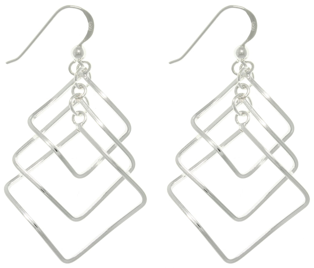 Jewelry Trends Sterling Silver Cascading Square Long Dangle Earrings