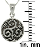 Jewelry Trends Sterling Silver Celtic Trinity Spiral Pendant on Box Chain Necklace